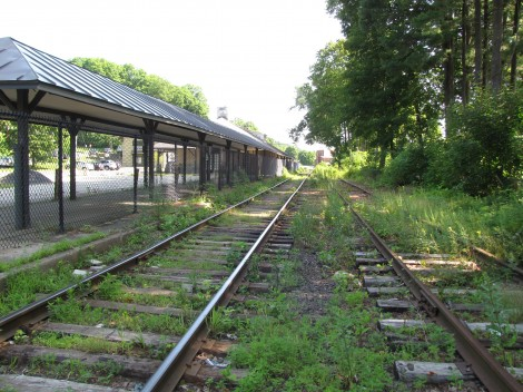 Overgrown tracks at the Great Barrington rail station.