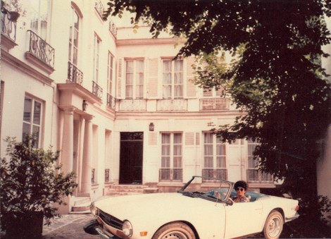 The author in her Triumph at 20 rue Jacob. Photo: Laurence Parade