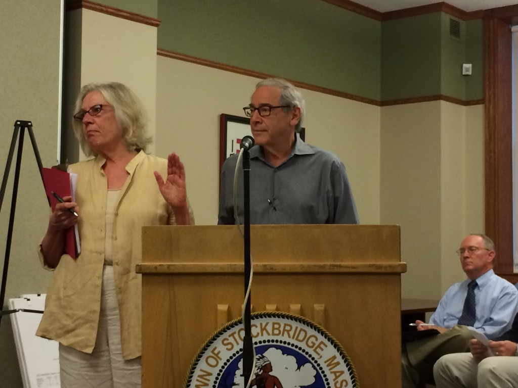 Julie and Barney Edmonds, addressing the Stockbridge Board of Selectmen in 2014.
