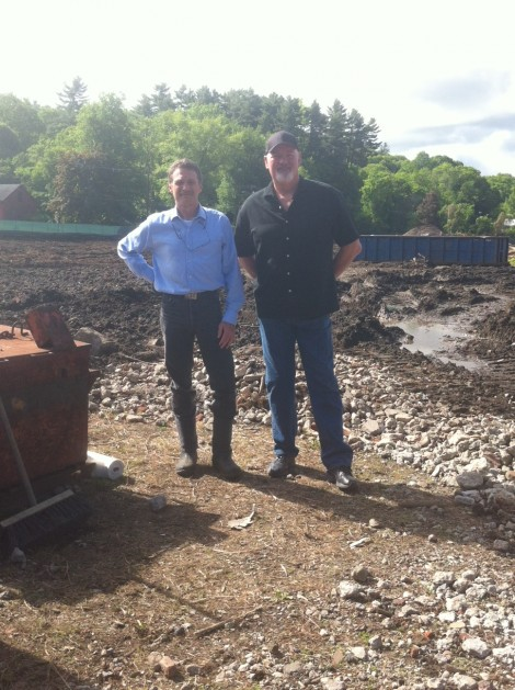 CDC Executive Director Tim Geller with Chris Young, at the start of the bioremediation process.