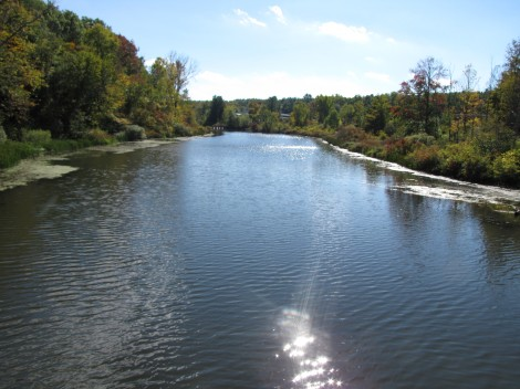 The Housatonic River spreads up against the Woods Pond dam.