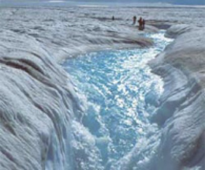 Melting water streams off the Greenland Ice Sheet.