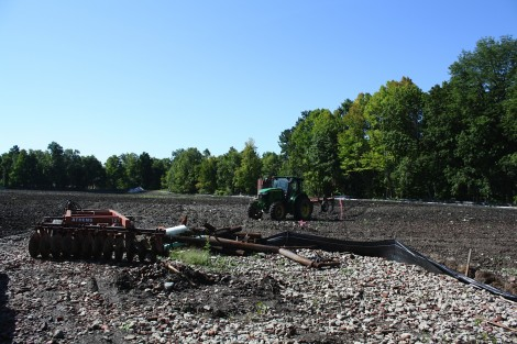 Tilling the soil to activate the bacteria breaking down the PCP and dioxin contamination continued this week.