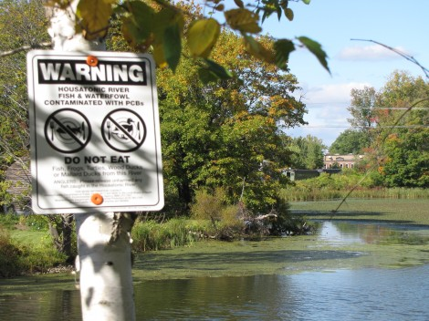 Another warning sign along a path by Woods Pond.