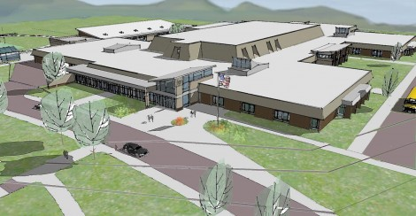 A sketch of the proposed renovation of Monument Mountain Regional High School. Courtesy of Symmes, Maini & McKee Associates