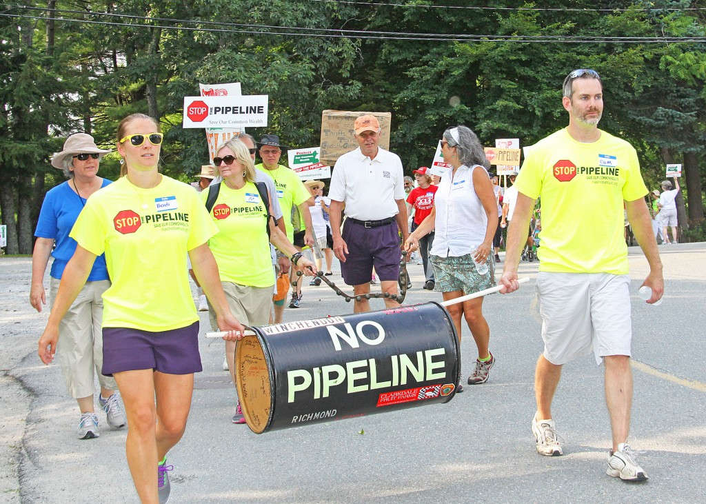 In July, Kinder Morgan pipeline opponents conducted a protest march across Massachusetts, from Richmond in the west to Dracut in the east, to generate opposition to the $5 billion project financed by a tariff on electricity bills.