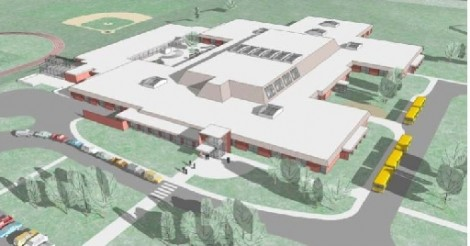 An aerial view of the proposed renovation of the 48-year-old school building.