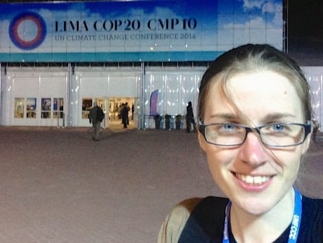 Ellie Johnston, in front of the conference center in Lima.