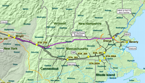 The route of the Kinder Morgan pipeline across Massachusetts as originally proposed.