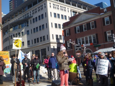 Liza Sockwell, a junior at Newton South High School and an ACE New England Action Fellow, speaks to the Cape Wind rally.