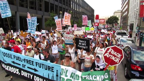 A still from the environmental film, 'Groundswell Rising,' chronicling the movement to oppose both bthe production of natural gas through 'fracking' and the construction of pipelines to convey the fracked gas.