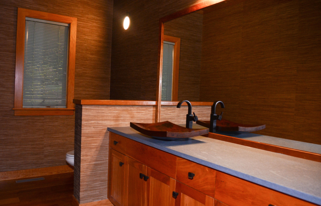 The redesigned powder room.