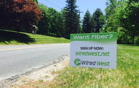 A Wired West roadside  sign in New Marlborough, Massachusetts. Photo: Tim Newman
