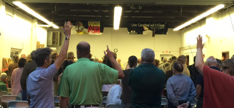 Voters standing and raising their hands during the special town meeting.
