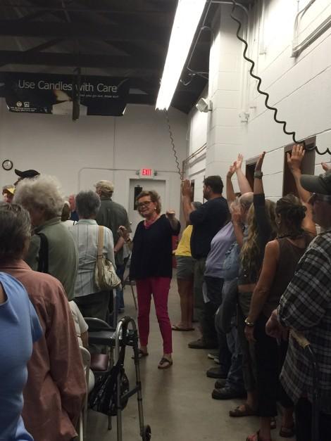 Town Clerk Paula Doyle counts the votes. Photo: Heather Bellow