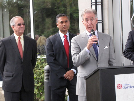 Congresssman Richard Neal, with Mayor Daniel Bianchi and Vijay Mahida behind him. Photo: David Scribner