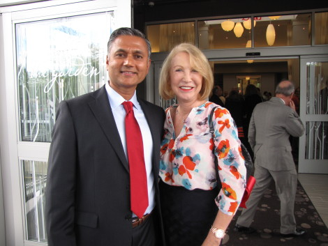 Among the guests from Great Barrington at the hotel opening, including two selectmen, was Jane Iredale, shown above with Vija Mahida.