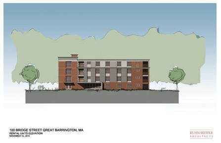 A depiction of the affordable apartments proposed for the 100 Bridge Street project.