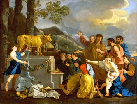 The Israelites worship the Golden Calf.