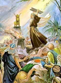 Moses breaks the tablets with the Ten Commandments.