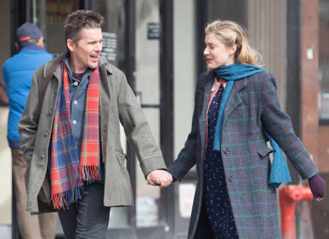 Ethan Hawke and Greta Gerwig filming a scene for 'Maggie's Plan' in Chinatown, New York
