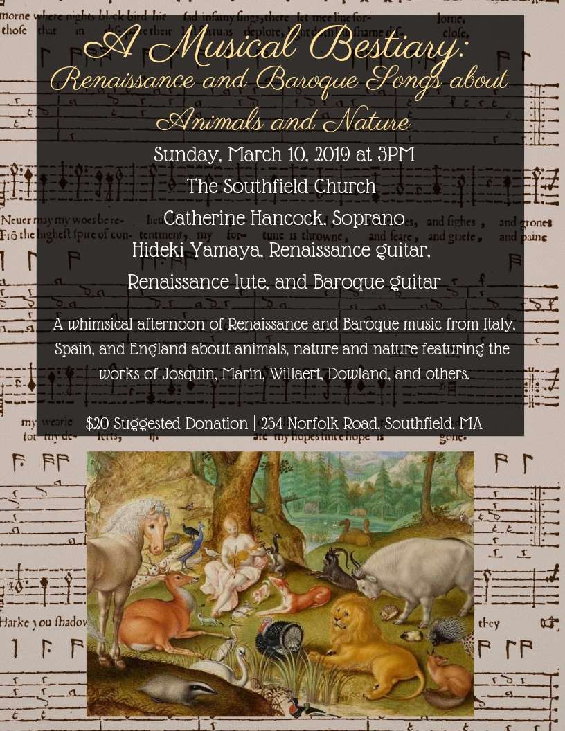 A Musical Bestiary: Renaissance and Baroque songs about animals and nature POSTPONED DUE TO WEATHER