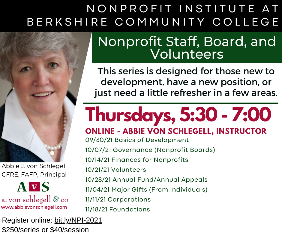 Fall Session Nonprofit Institute at Berkshire Community College - Online