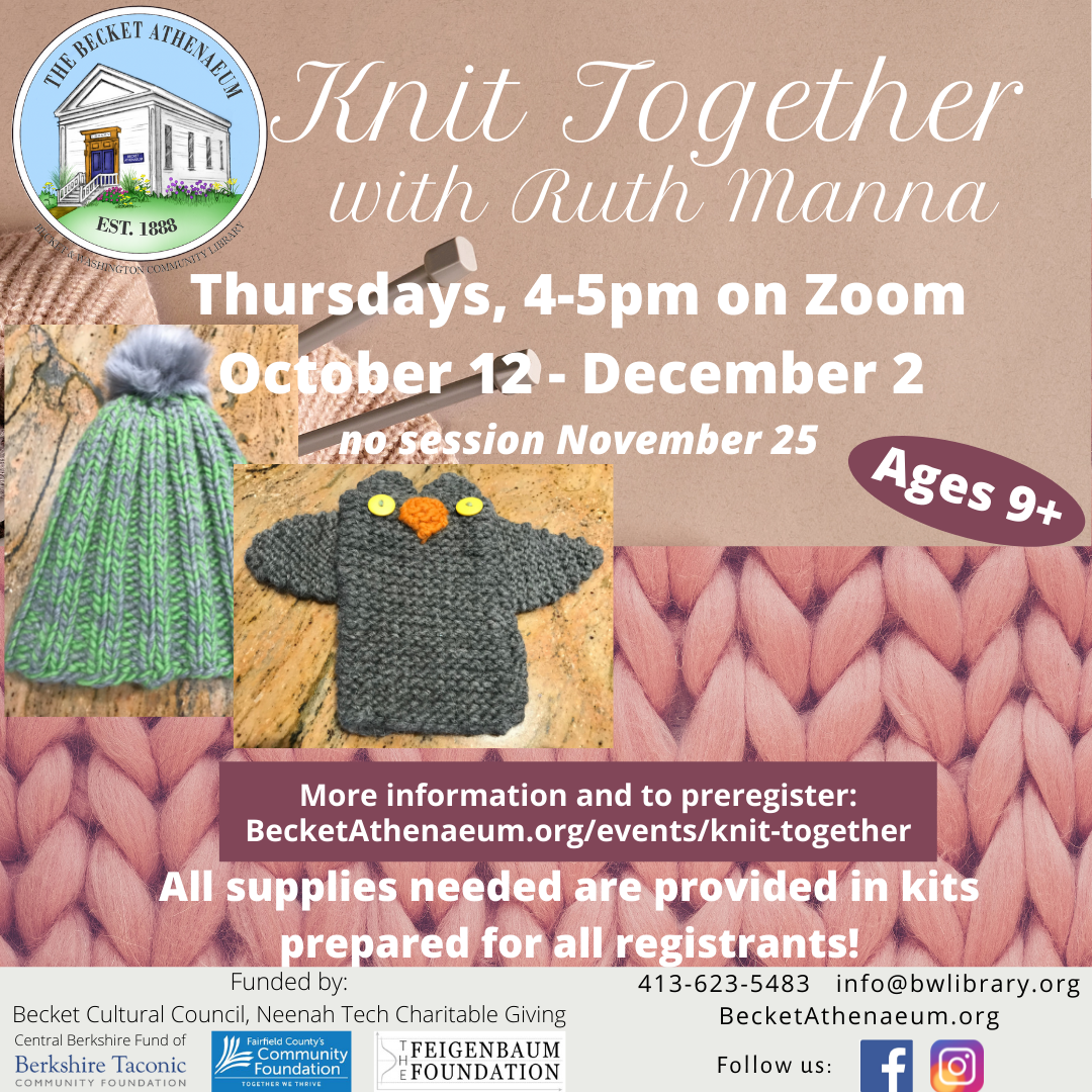 Knit Together with Ruth Manna: 6-Session ZOOM Classes for Beginning Knitters